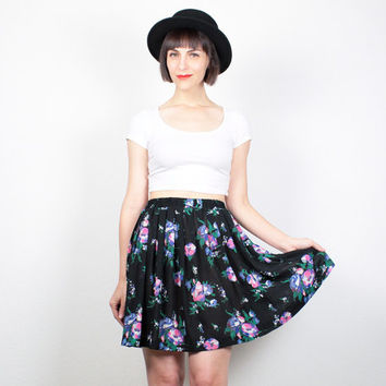 Vintage Black SKATER Skirt High Waisted Skirt Pink Floral Print Mini Skirt Draped Pleated 1990s Skirt 90s Skirt Soft Grunge Skirt S M Medium