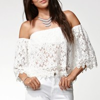 Reverse Off-The-Shoulder Lace Cropped Top - Womens Shirts - White