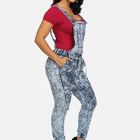 2-In-1 High Waisted Joggers And Overalls Jumpsuit (Dark Acid Wash)