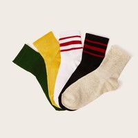Ribbed Ankle Socks 5pairs