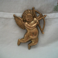 Cupid Angel Cherub Pin Brooch Bow and Arrow Vintage Valentines Day Love