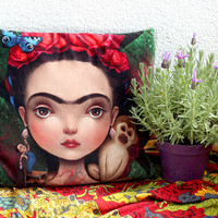 Diegito and I - art pillow   luxury velvet cushion, mexican home decor, mexican dec pillow case, house warming gift =  18X18   by Meluseena