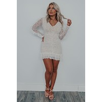 Blown Away Dress: White/Nude