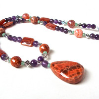 Purple and orange gemstone statement necklace - amethyst & mexican fire agate pendant necklace - spring accessories by Sparkle City Jewelry