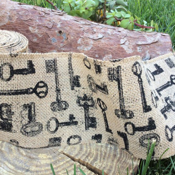 """Alice in Wonderland Party Decorations Decor Tea Party Mad Hatter Burlap Key Fabric Printed Ribbon 5"""" wide x 20 feet ( 6.6 yards)"""