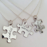 Personalized Puzzle Piece Necklaces ENGRAVED With Names, Dates, or Special Word for Friends Sisters & Bridemaids