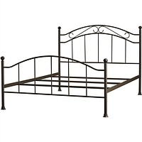 Queen Size Scroll Design Metal Bed Frame in Brown Finish