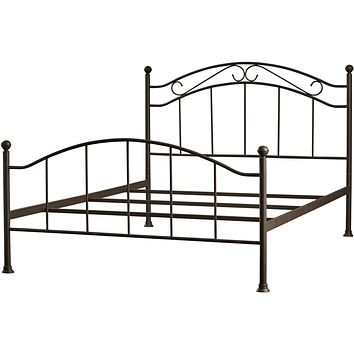 Queen Metal Bed Frame with Scroll Design Headboard Footboard in Brown Finish