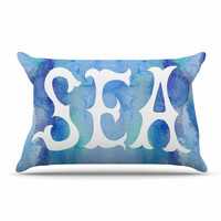 """Catherine Holcombe """"I Love The Sea 2"""" Blue Teal Pillow Case"""