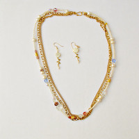 Triple Mixed Strand Necklace-Two Metal Strands and One Pearl Strand with Swarovski beads