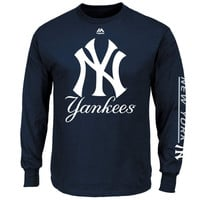 New York Yankees Majestic Bend Don't Break Long Sleeve T-Shirt – Navy Blue