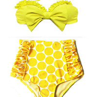 Yellow Bow Top and Yellow Shorts Bottom Bikini Bikinis Skirt Two-piece Swimsuit Swimwear Swimming Swim Beachwear Bathing suit Swimdress S M