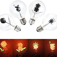 E27 Led Bulbs - Vintage Industrial Filament Floral Iris E27 Led Night Light Bulbs Screw Cap Lamp - Flower Vintage Light Bulb Earrings Fabric Stretch Dress Vase Wallpaper - Flower Bulb - 1PCs