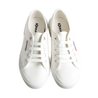 Womens White Canvas Lace Up Sneakers