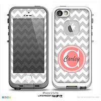 The Gray & White Chevron Monogram Name Script Skin v1 Skin for the iPhone 5-5s Fre LifeProof Case
