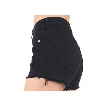 Medium Rise Ripped Denim Shorts