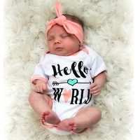 Hello World Baby Girls Cute Pink Rompers Baby Kids Rompers Sets Casual Jumpsuit Headband