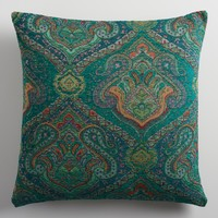 Blue Jacquard Throw Pillow