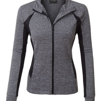 LE3NO Womens Zip Up Long Sleeve Active Sports Running Jacket with Thumb Hole