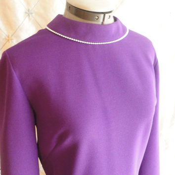 ON SALE 60s Dress // XL // Vintage 1960s Purple Knit Dress with Silver Beaded Collar by R&K Knits For the Girl Who Knows Clothes Size Xl