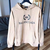 BALENCIAGA Fashion Women Men Casual Print Hoodie Sweater Sweatshirt Khaki