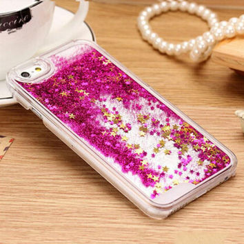 Fashion Transparent Clear Phone Case Glitter Stars Dynamic Liquid Quicksand Hard Case Cover For iPhone 5 5s 6 6s 6plus 7 7plus