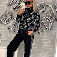 GIVENCHY New Popular Women Casual Round Collar Top Pants Set Two-Piece Black
