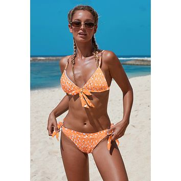 Orange Bohemian Print Knot Bikini Swimsuit