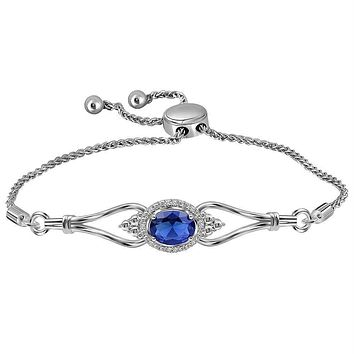 Sterling Silver Women's Oval Lab-Created Blue Sapphire Diamond Bolo Bracelet 1.00 Cttw - FREE Shipping (US/CAN)
