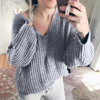 Explosion models loose large size V-neck wool sweater women's sweater