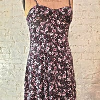 Grunge Dress - 80s/90s - Purple Floral Print Sundress