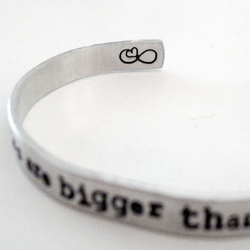 The Fault in Our Stars Bracelet -Some Infinities are Bigger - Aluminum Cuff - Gifts Under 20