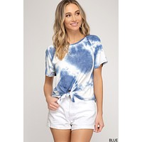 Tie Dye Top with Front Tie Detail - Blue