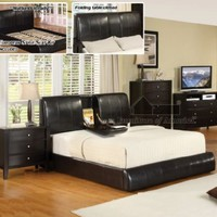 Furniture of America Stanley Leatherette Platform Bed, California King, Espresso
