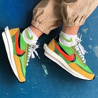 Bunchsun Sacai X Nike LVD WAFFLE Fashionable Men Women Breathable Sport Running Shoes Snekers Green&Yellow&Orange