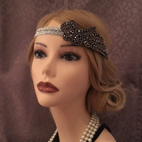 1920s Inspired Art Deco Beaded Winged Flapper Head Piece Headband Gatsby 20s style headband Silver Glitzy Sparkly Hair Black Pewter (663)