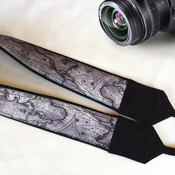 World Map Camera Strap. Strap For Men. Men Gift. Camera Accessories