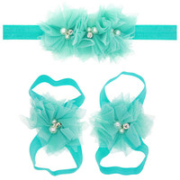 Cute Toddle Infant Baby Girls Lace Hair Band Matching Barefoot Sandals Foot Flower Pearl Drill Headband Tiara Beach Summer 2016