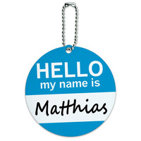 Matthias Hello My Name Is Round ID Card Luggage Tag