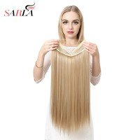 "SARLA 22"" Straight Hairpiece Weaving Halo Hair Extension Synthetic Hair High Temperature Fiber No Clips No Glue No Tape M02"