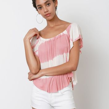 Darling Tie-Dye Top - Cream/Pink
