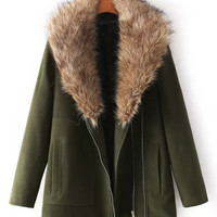 Army Green Fur Collar Zip-Up Woolen Coat