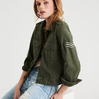 AE Cropped & Patched Military Jacket, Olive