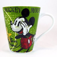 Mickey Mouse No Finer Friend Coffee Mug Cup 10oz Green Yellow Disney k362