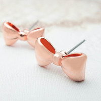 Rose Gold Bow Earrings Rose gold earrings Cute earrings Tiny post earrings Gold charm earrings Gift mom Birthday Gift best friend Birthday