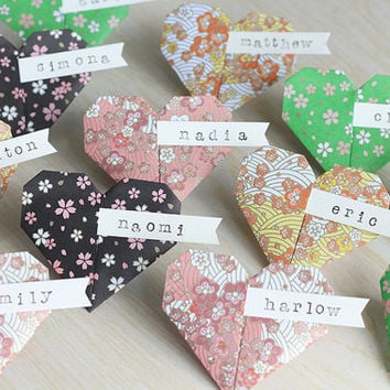 20 Origami Paper Heart Name Place Cards Handmade Wedding Bridal Shower Paper Heart Floral Flowers Pink Green Black Yellow White Ivory Banner