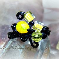 Yellow Crystal Wrapped Ring, Direct Checkout,