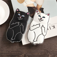 F Off Middle Finger Pocket Cat Trending Silicon iPhone Case _ 5020