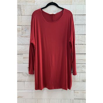 Boat Neck Tunic Top- Red