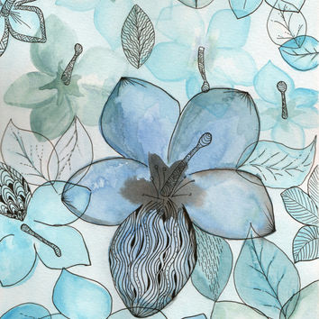 Original watercolor abstract flower illustration drawing blue teal turquoise flowers